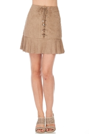 She + Sky Suede Lace Up Skirt - Front cropped