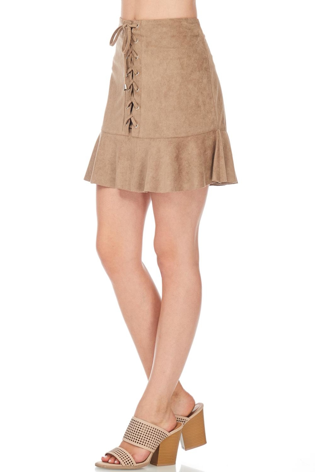 She + Sky Suede Lace Up Skirt - Side Cropped Image