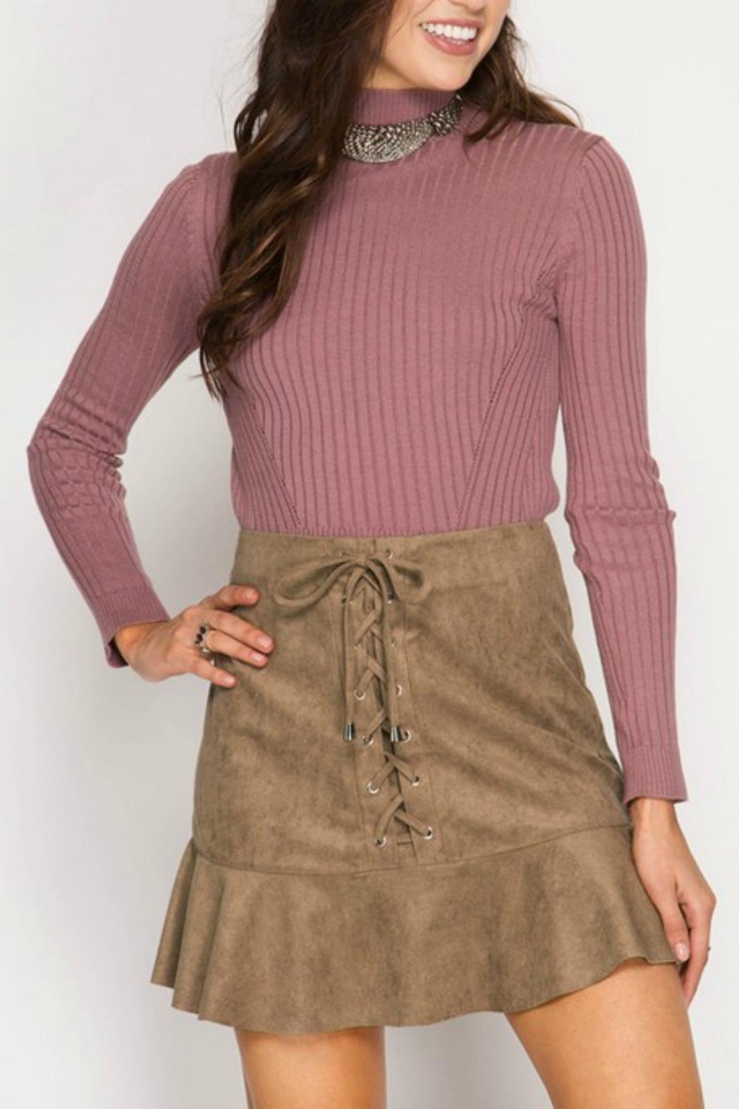She + Sky Suede Lace-Up Skirt - Main Image
