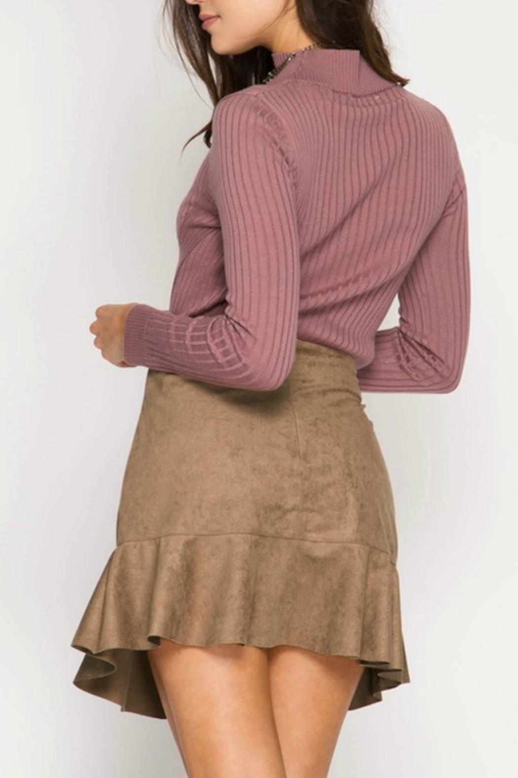 She + Sky Suede Lace-Up Skirt - Front Full Image