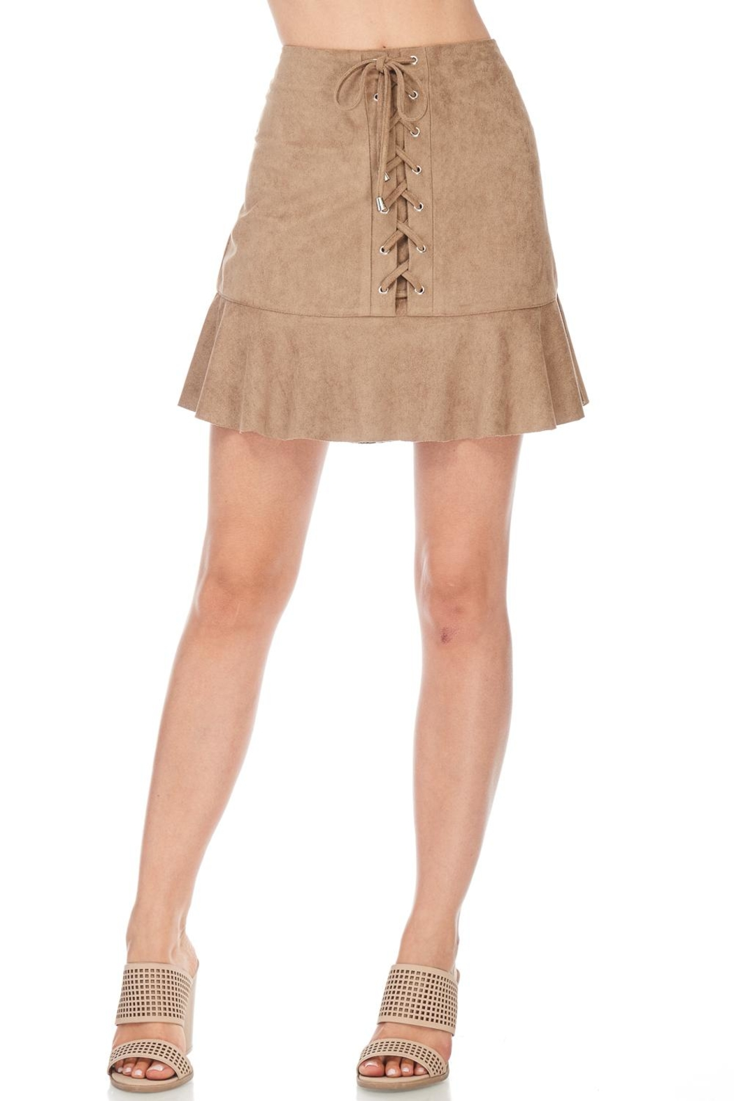 She + Sky Suede Laceup Skirt - Side Cropped Image
