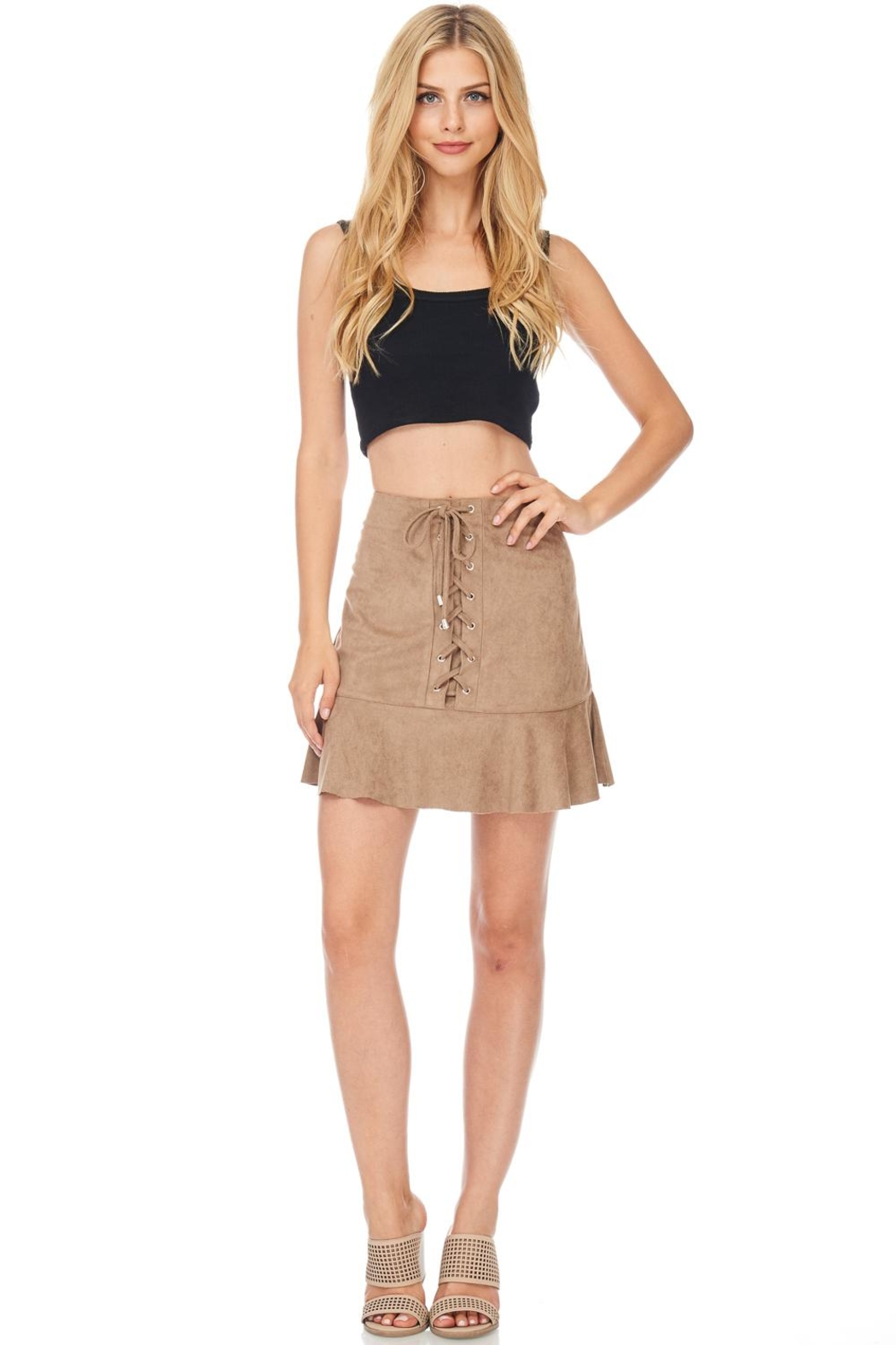 She + Sky Suede Laceup Skirt - Front Cropped Image
