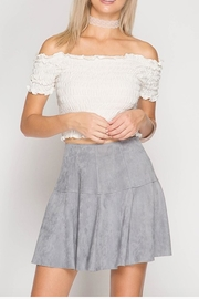 She + Sky Suede Mini Skirt - Front full body