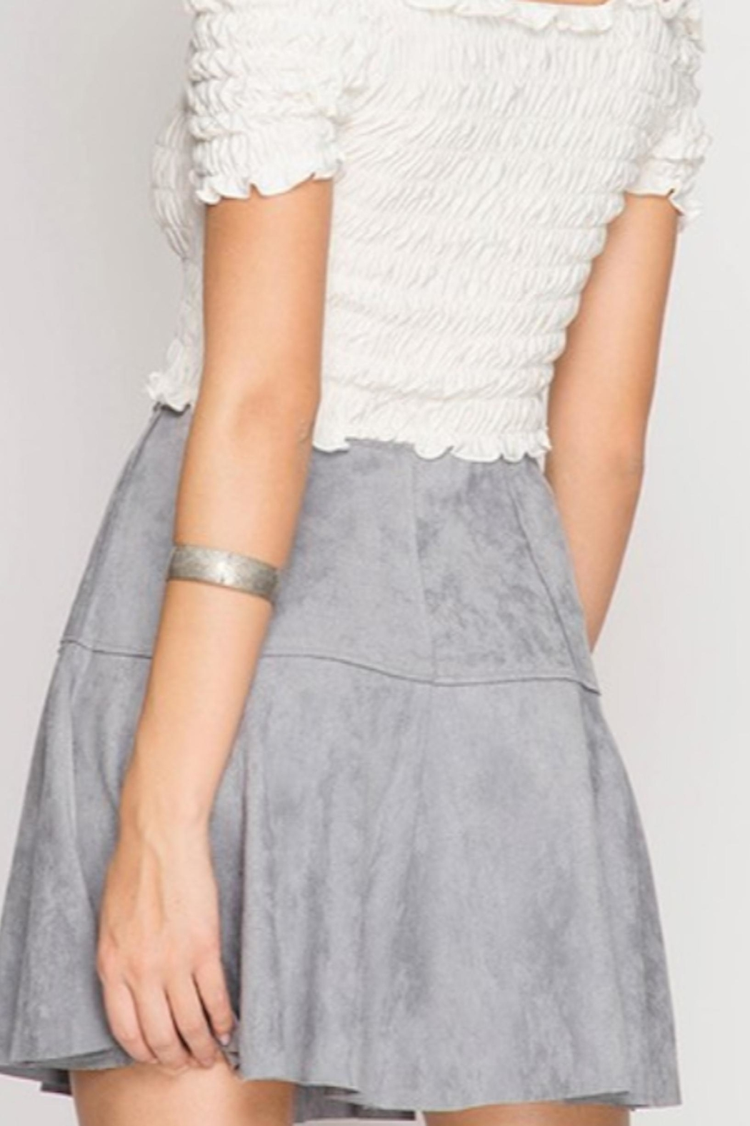 She + Sky Suede Mini Skirt - Main Image
