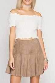 She + Sky Suede Mini Skirt - Front cropped