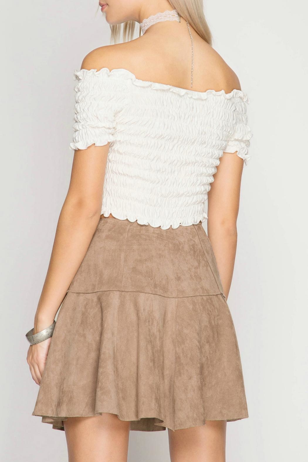 She + Sky Suede Mini Skirt - Front Full Image