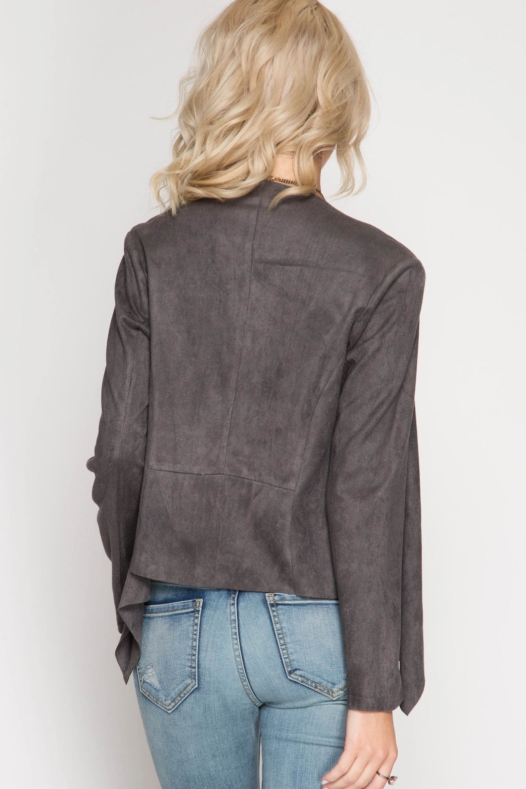 She + Sky Suede Open Blazer - Front Full Image