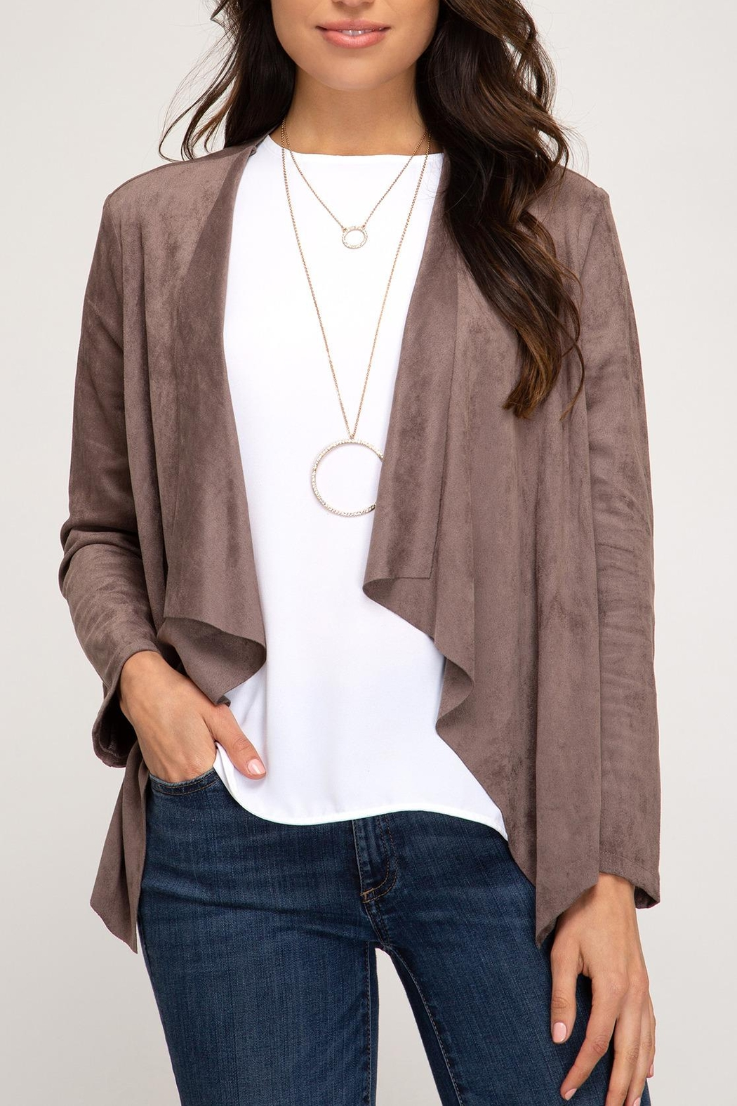 She + Sky Suede Open Blazer - Front Cropped Image