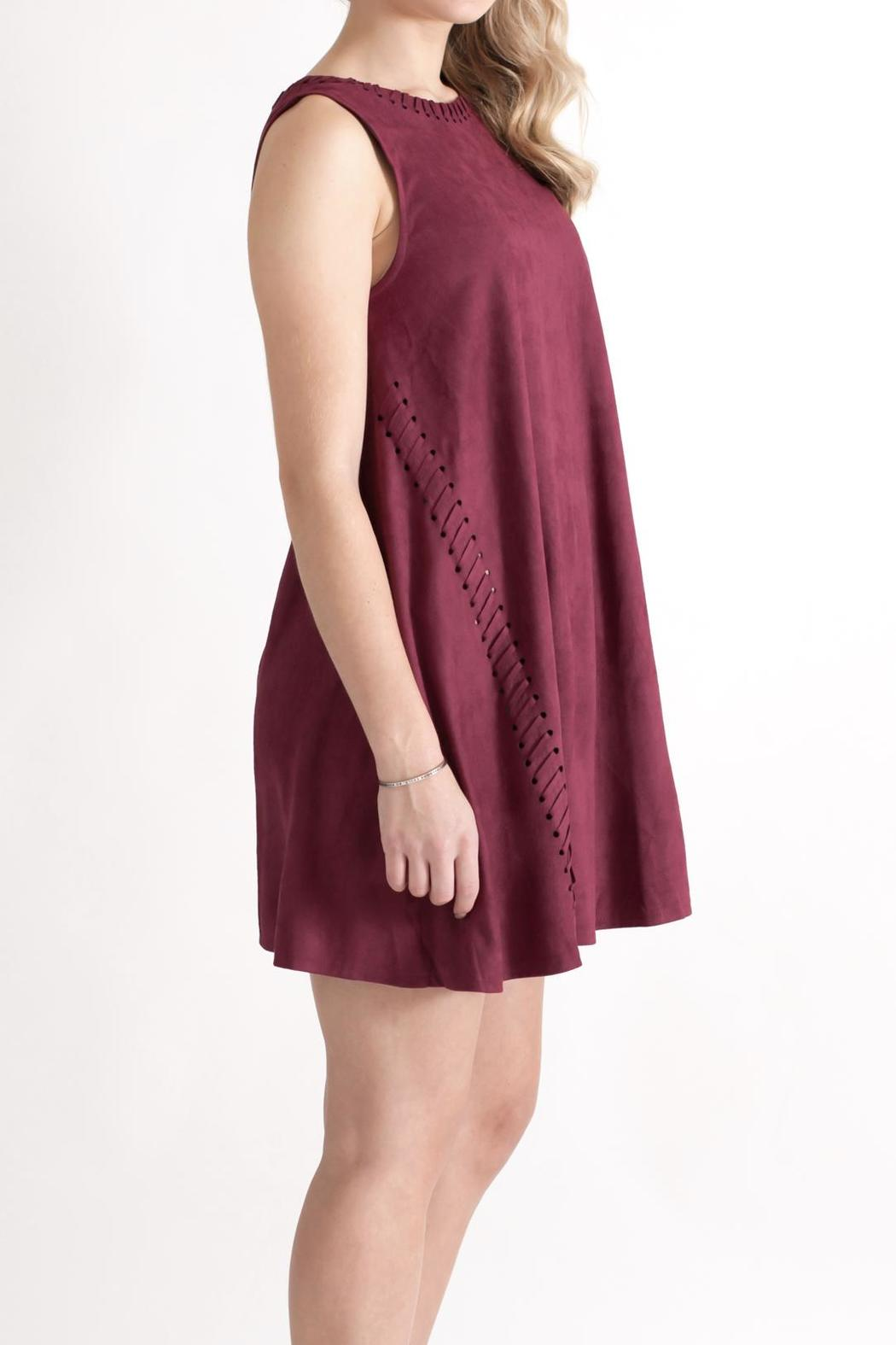 She + Sky Vegan Suede Shift Dress - Side Cropped Image
