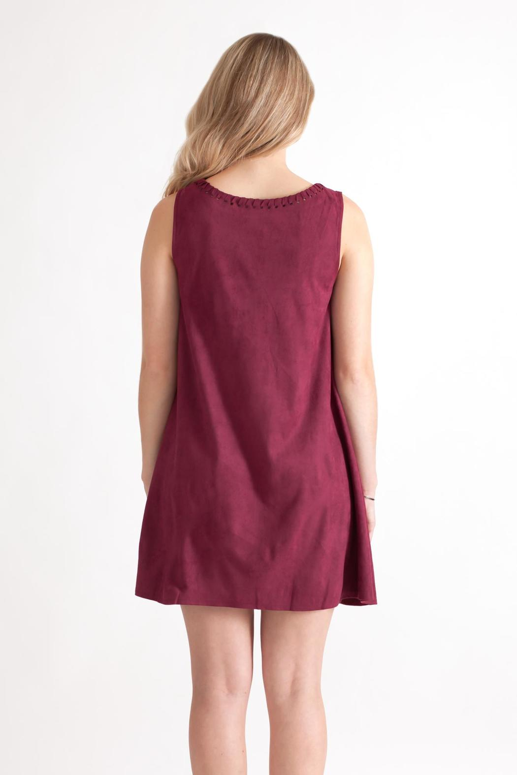 She + Sky Vegan Suede Shift Dress - Back Cropped Image