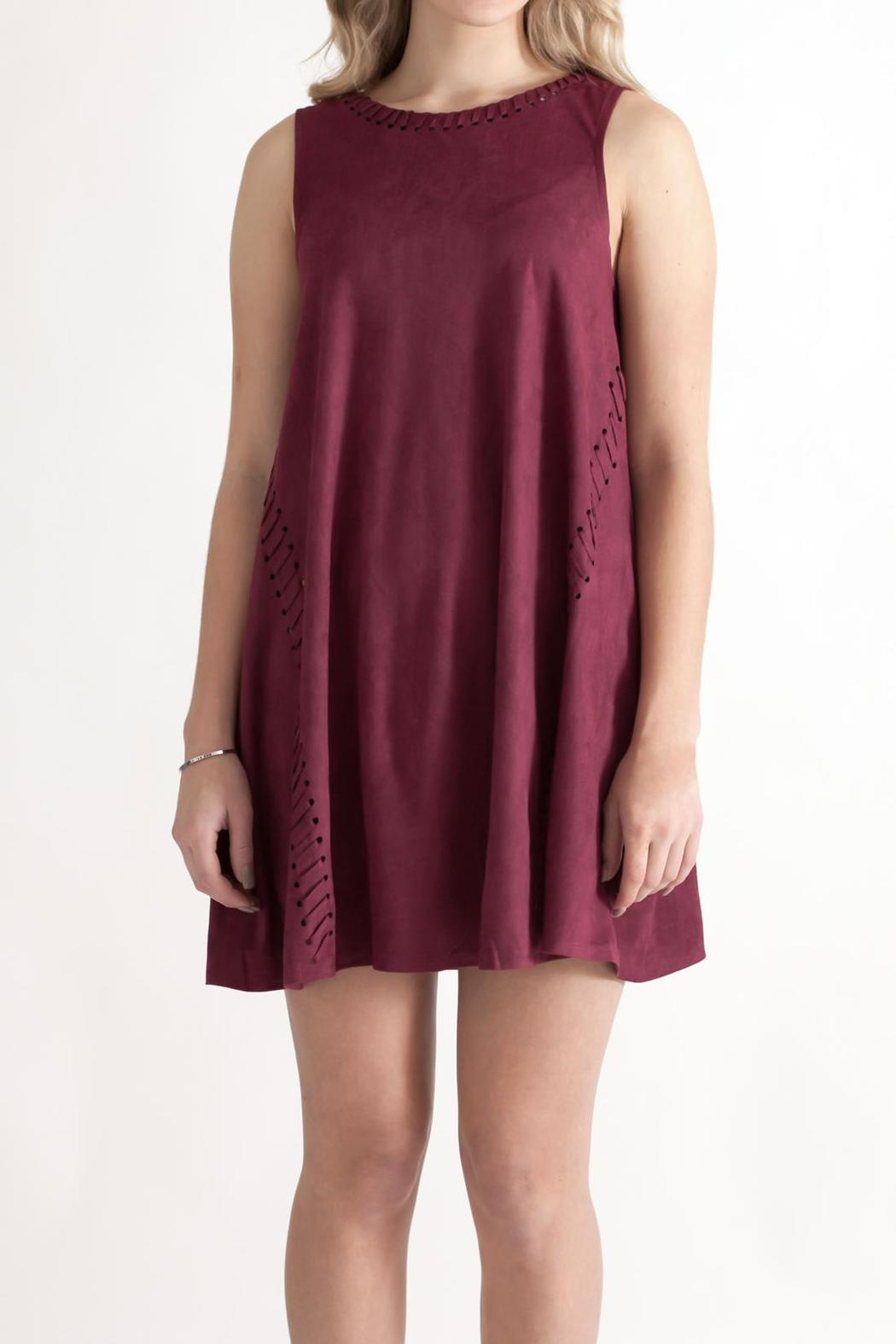 She + Sky Vegan Suede Shift Dress - Front Cropped Image