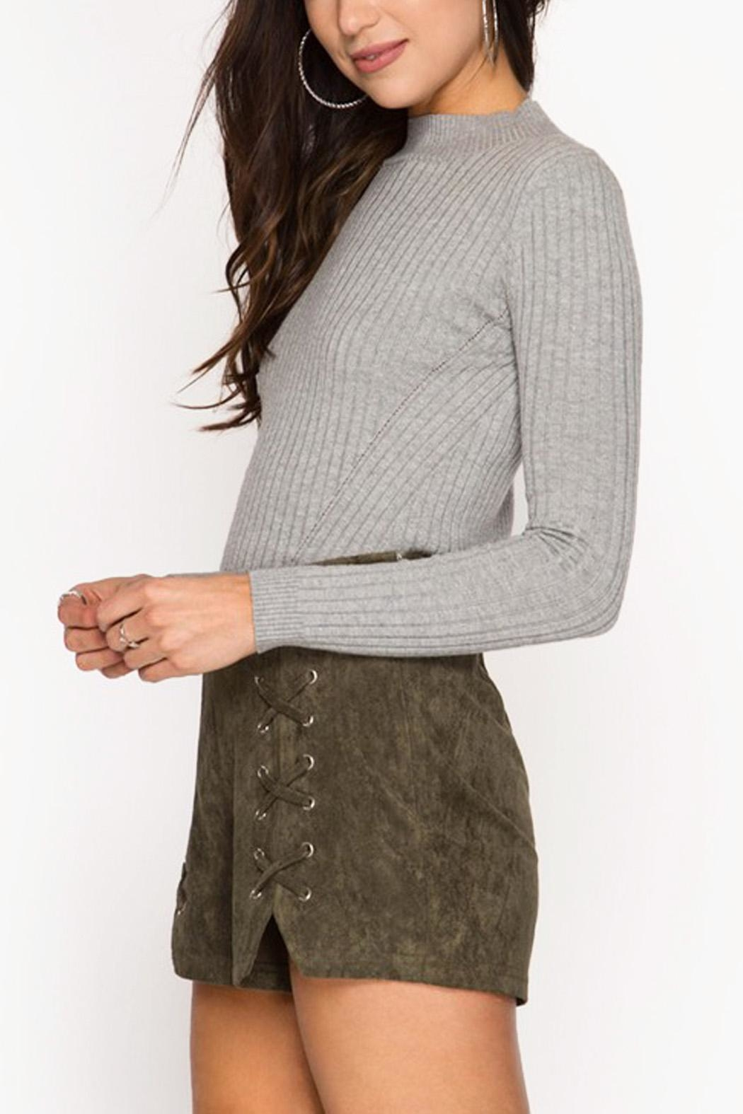 She + Sky Suede Shorts - Side Cropped Image