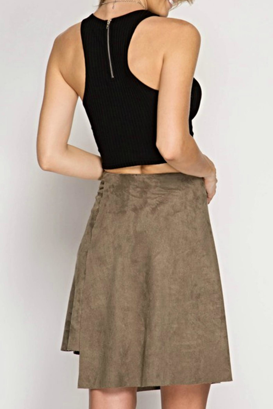 She + Sky Suede Tie Skirt - Front Full Image