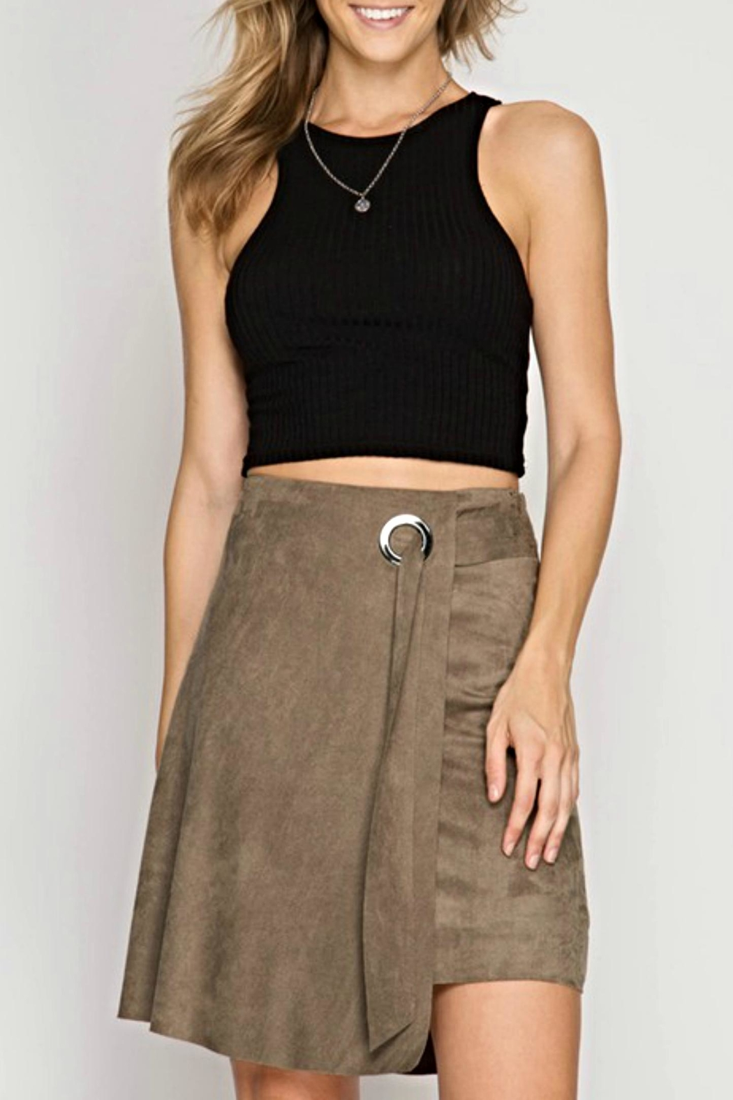 She + Sky Suede Tie Skirt - Main Image