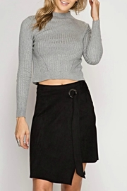 She + Sky Suede Tie Skirt - Front cropped