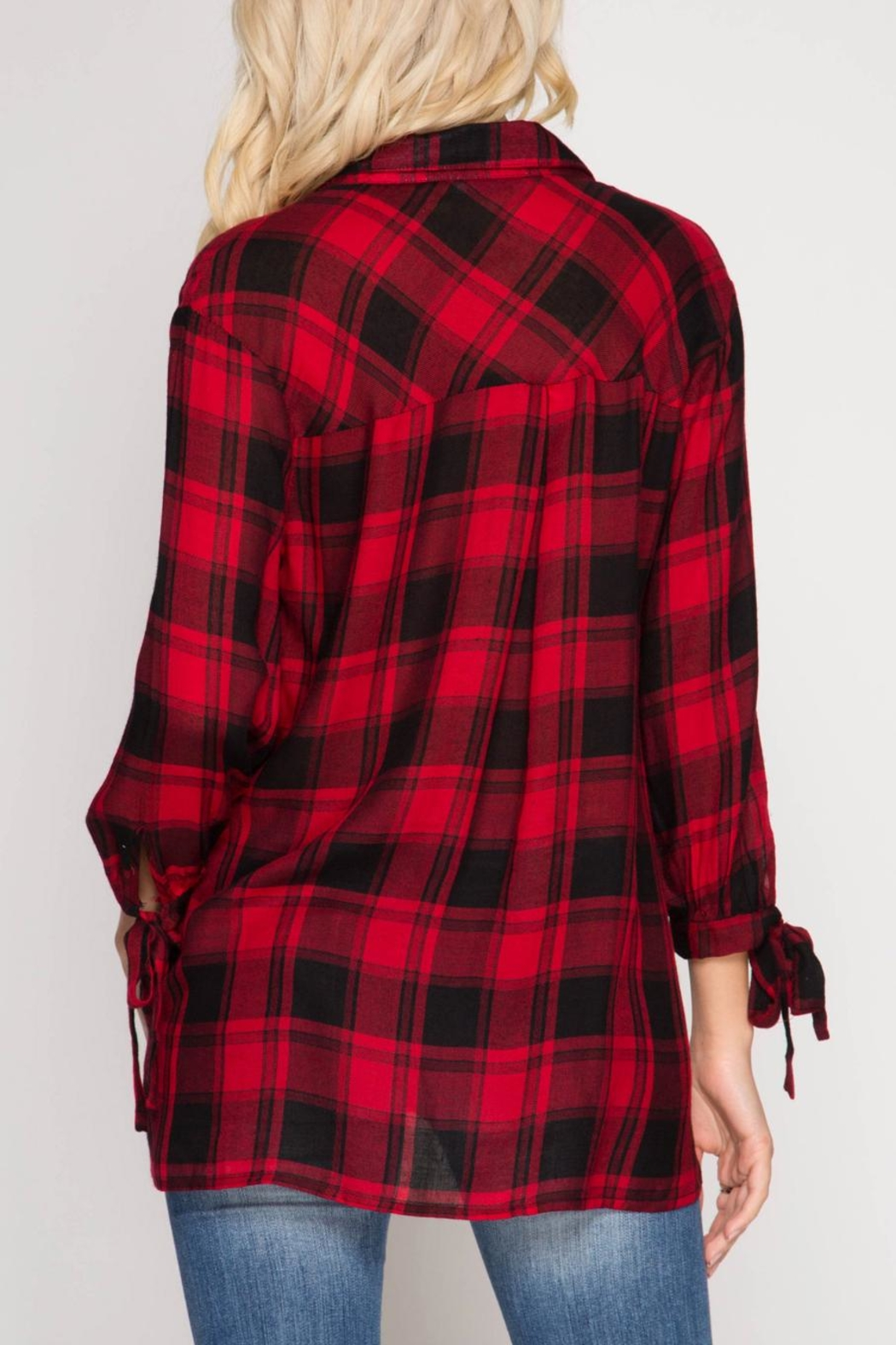 She + Sky Surplice Plaid Top - Front Full Image