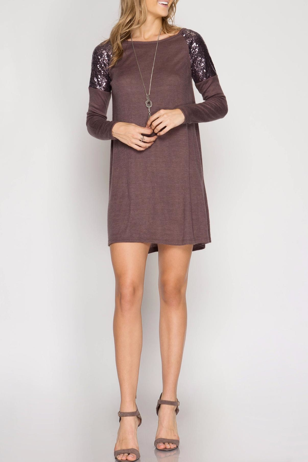 She + Sky Sweater Knit Dress - Front Cropped Image