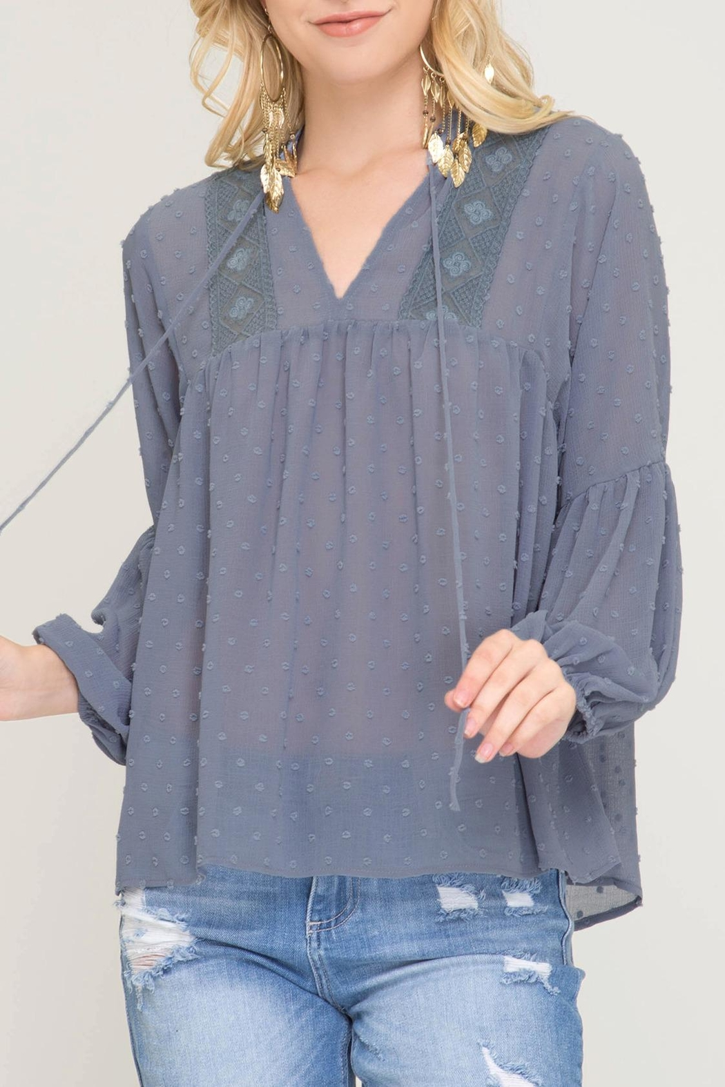 She + Sky Swiss Dot Blouse - Main Image