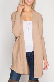 She + Sky Tan Ribbed Cardigan - Product Mini Image