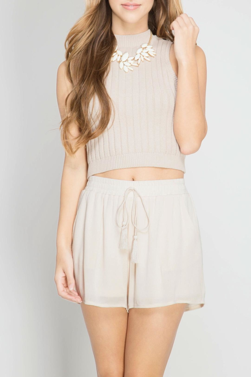 She + Sky Tassel Shorts - Front Cropped Image