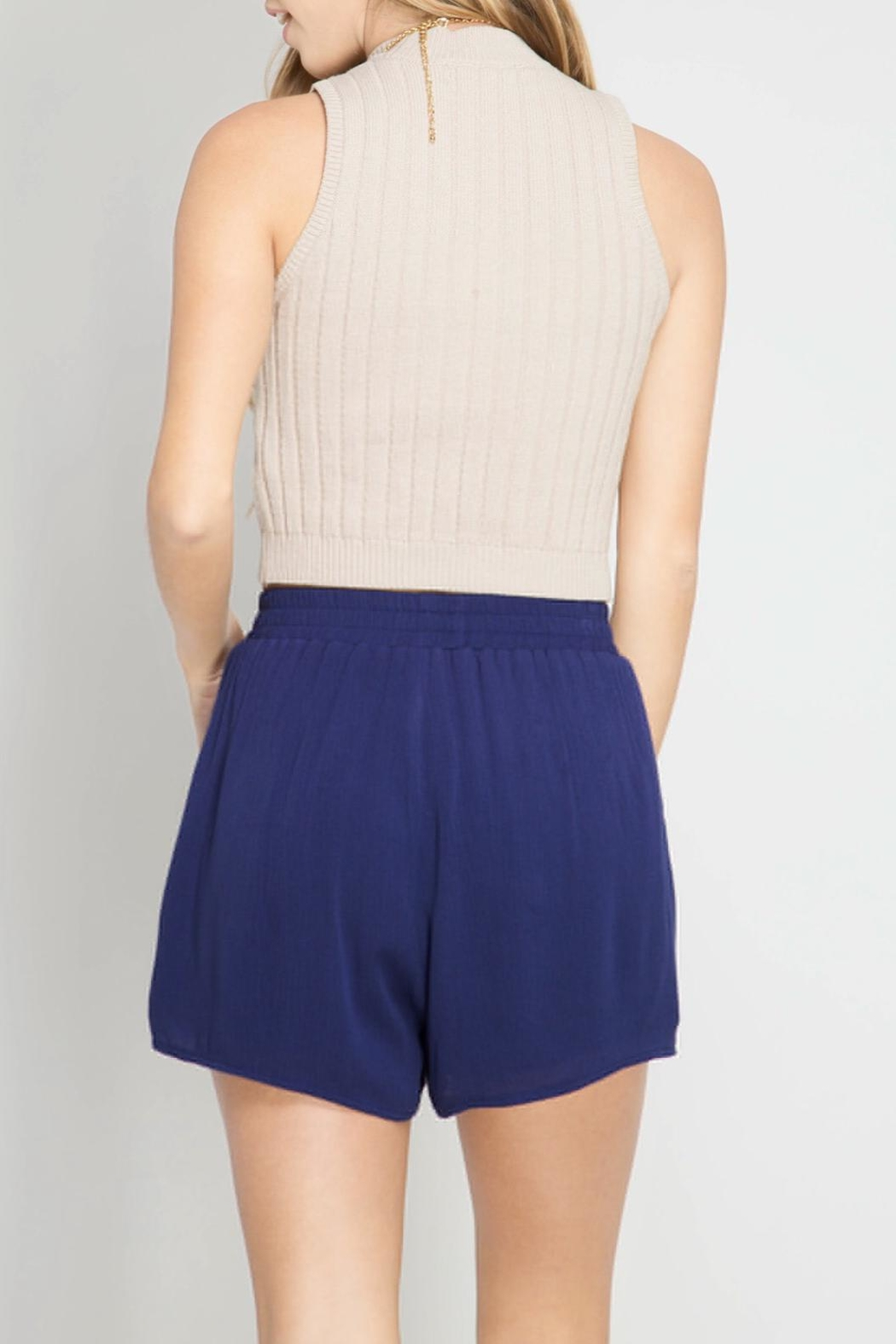 She + Sky Tassel Shorts - Front Full Image