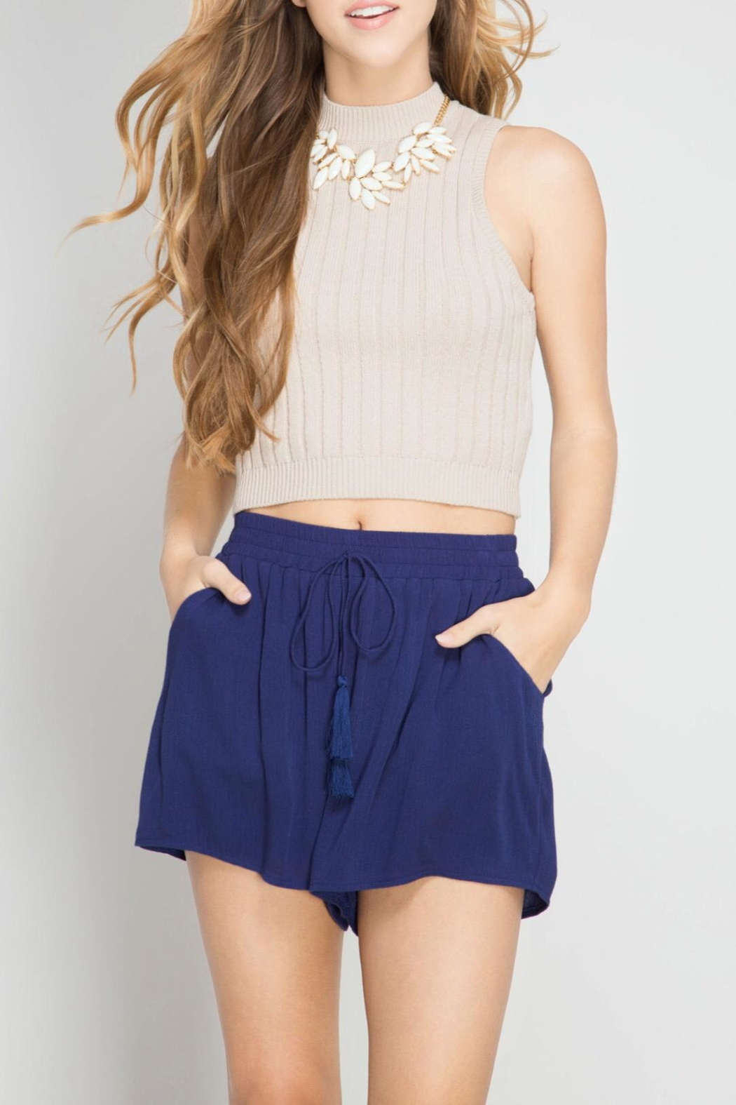 She + Sky Tassel Shorts - Main Image