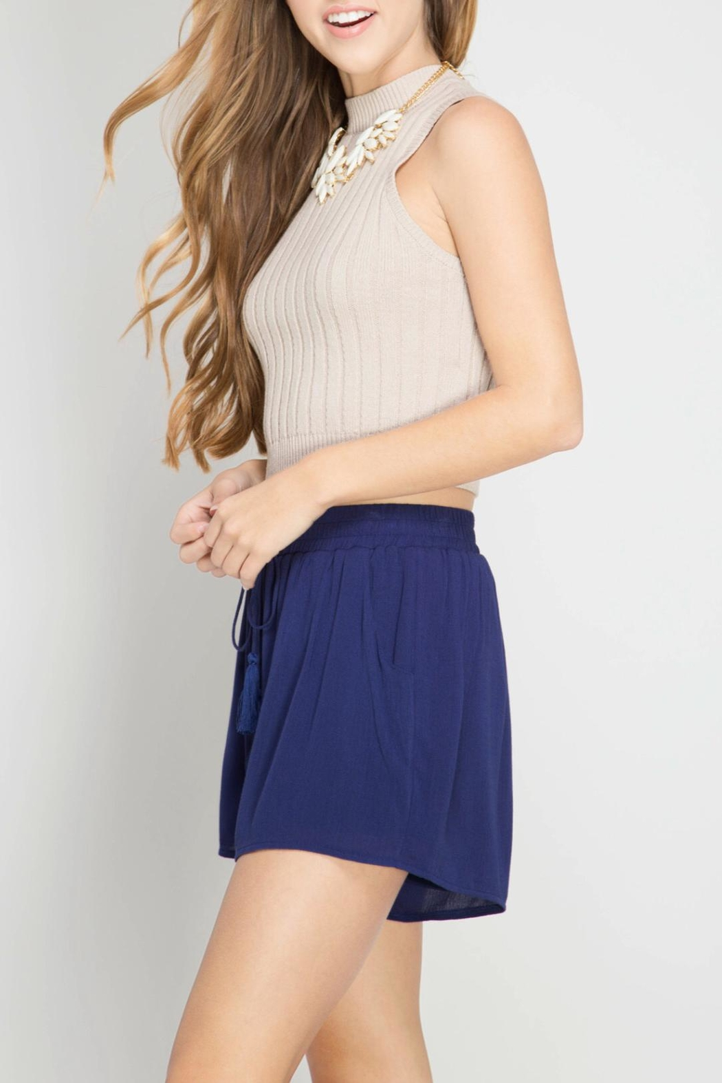 She + Sky Tassel Shorts - Side Cropped Image