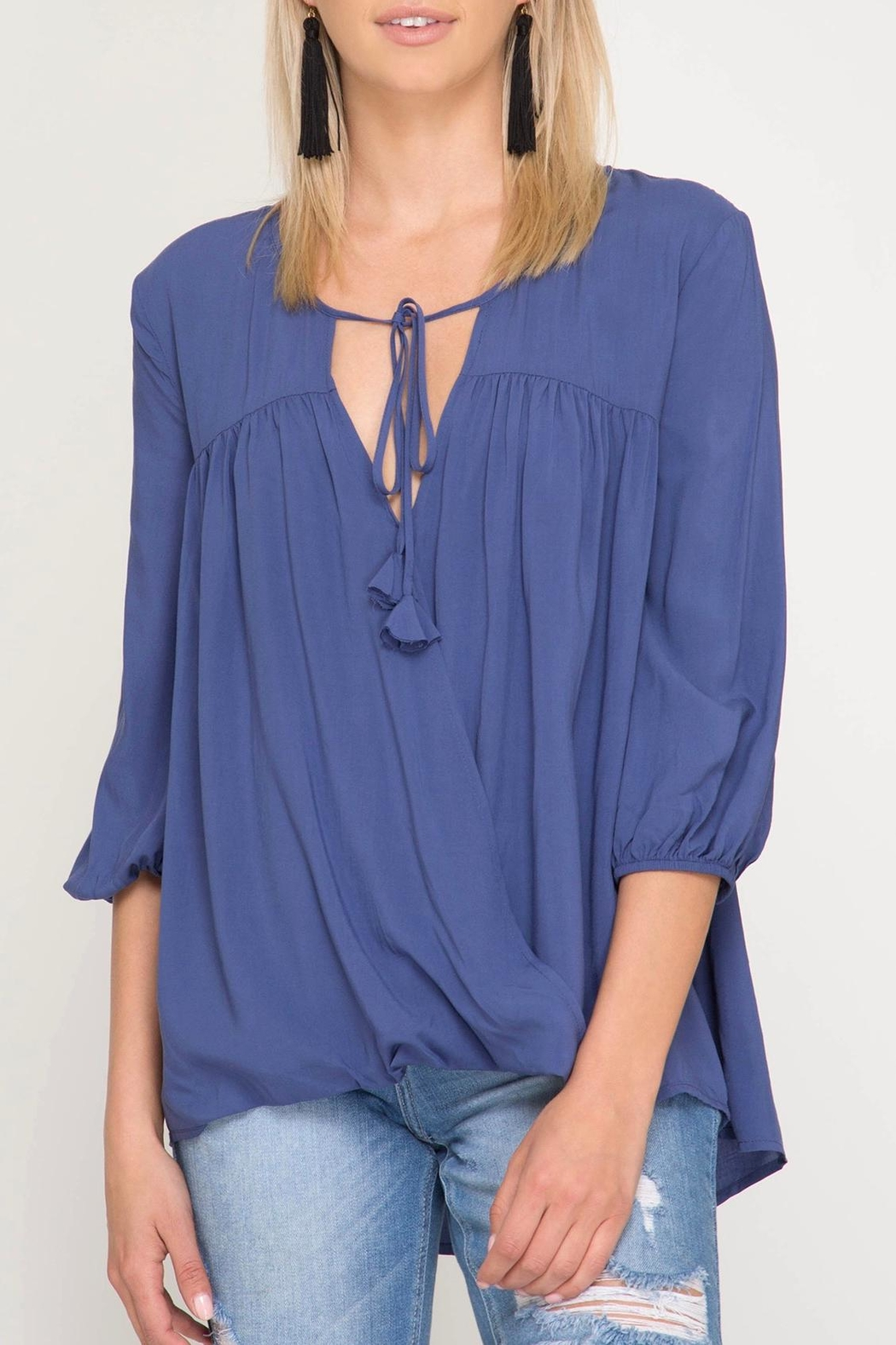 She + Sky Tassel Tie Blouse - Front Cropped Image