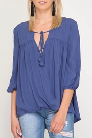 She + Sky Tassel Tie Blouse - Front cropped