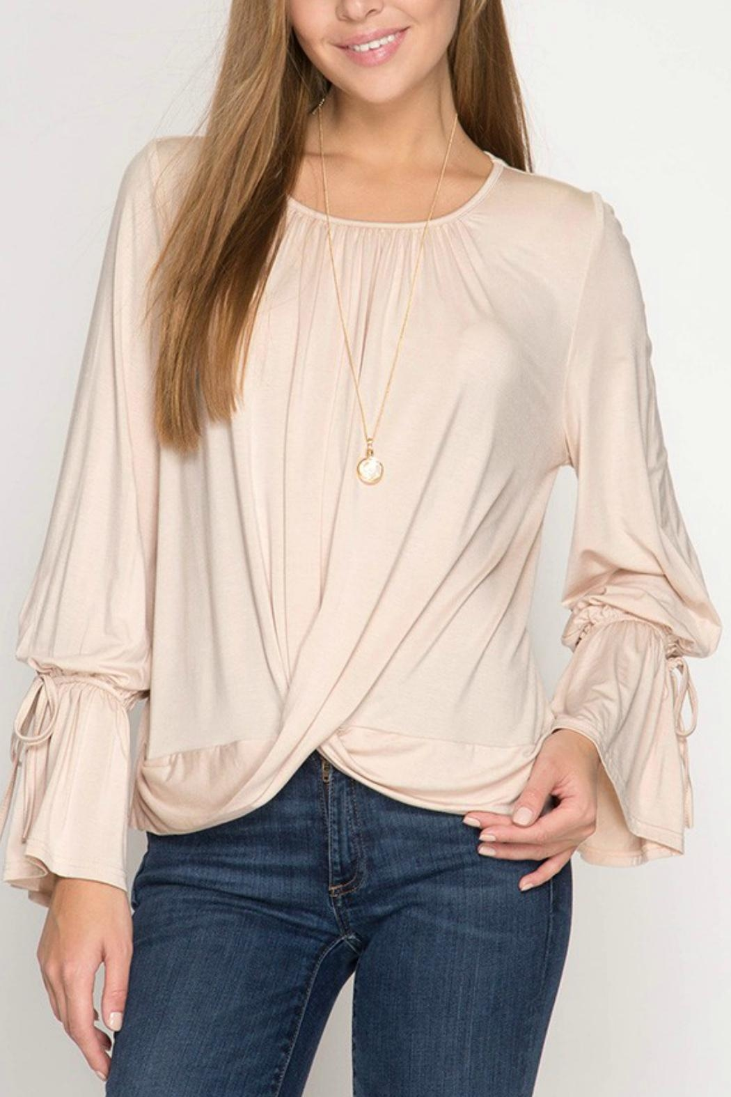 She + Sky Taupe Front-Twist Top - Main Image
