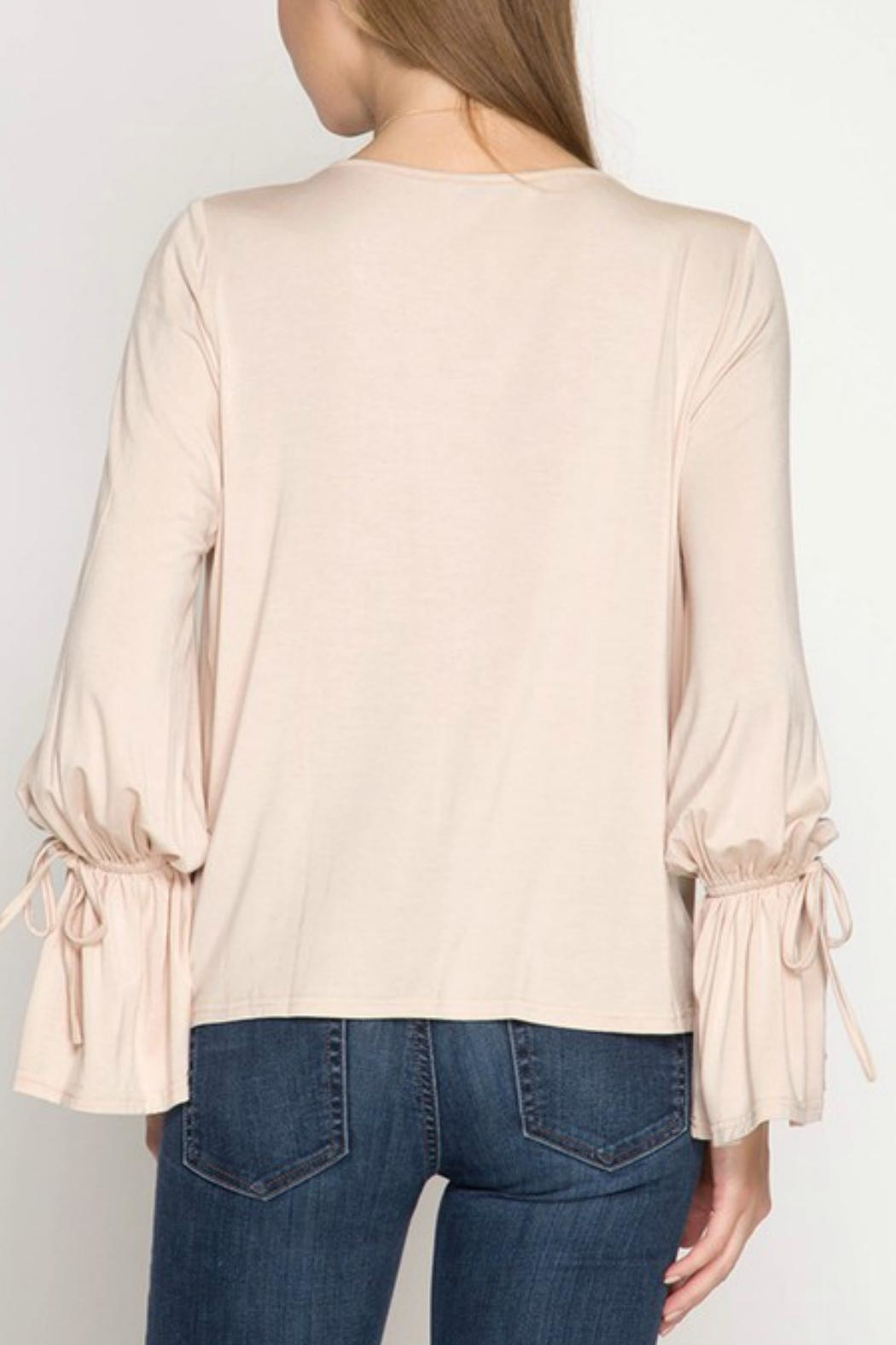 She + Sky Taupe Front-Twist Top - Front Full Image