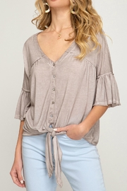 She + Sky Taupe Knit Top - Product Mini Image