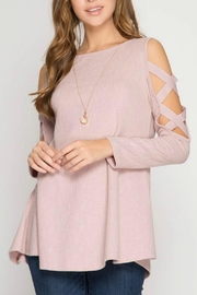 She + Sky Textured Cold-Shoulder Top - Front full body