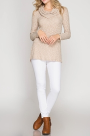 She + Sky Textured Cowl Top - Front full body