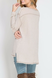 She + Sky Thermal Henley Top - Front full body