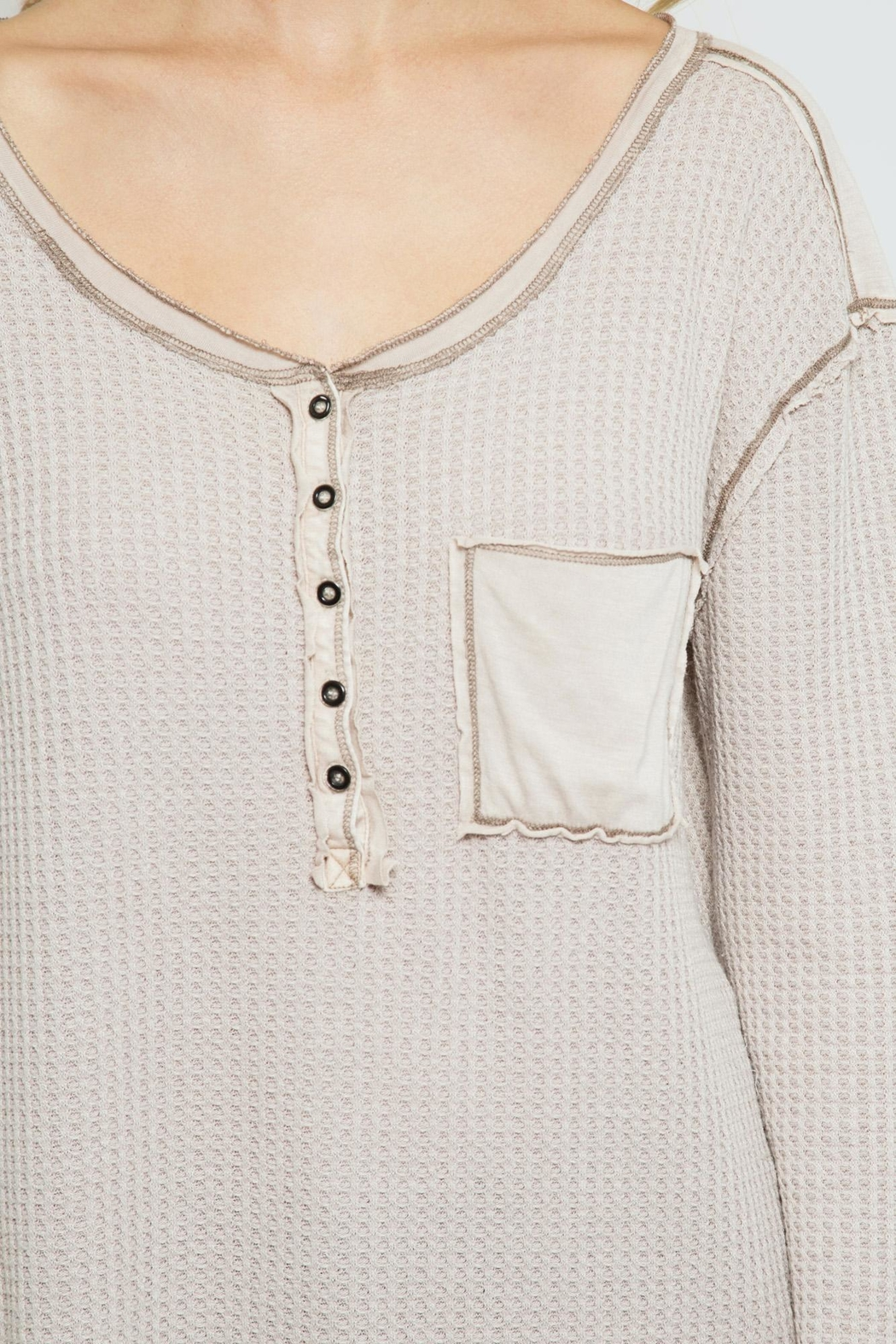 She + Sky Thermal Henley Top - Side Cropped Image