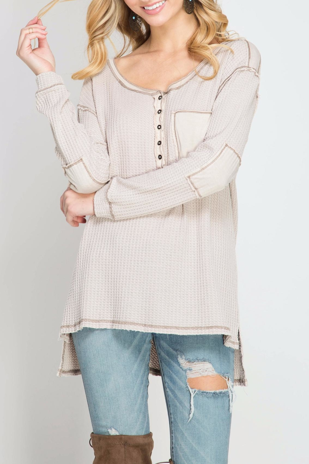She + Sky Thermal Henley Top - Front Cropped Image