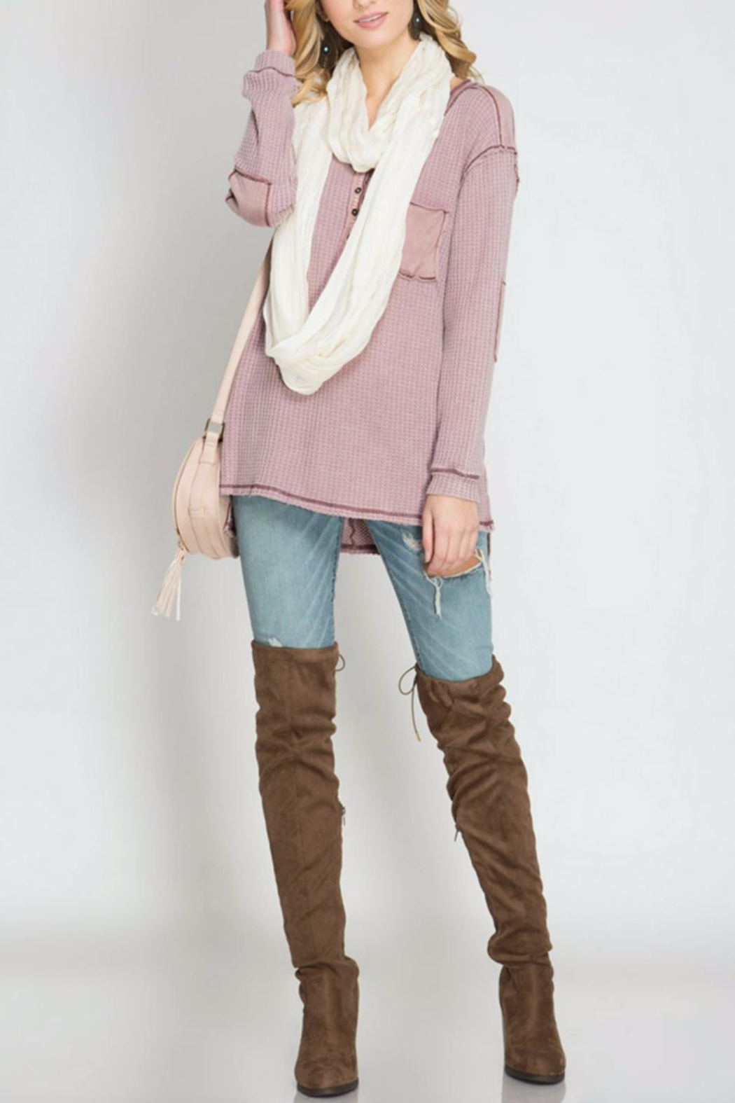 She + Sky Thermal Henley Top - Main Image