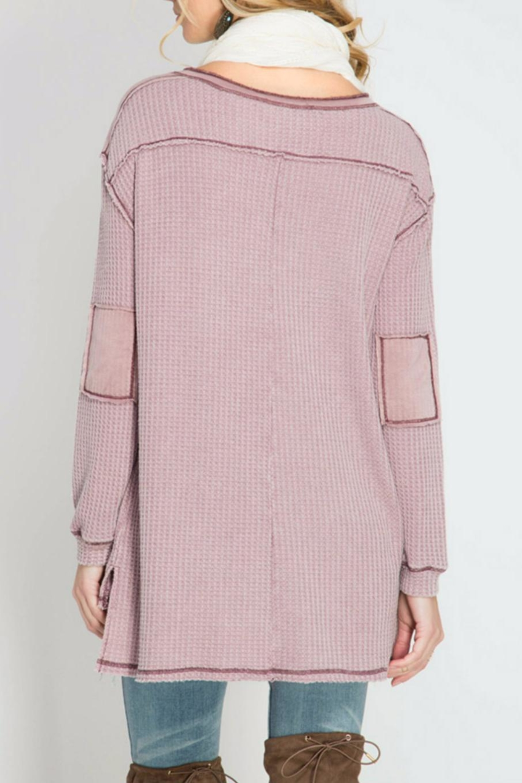She + Sky Thermal Henley Top - Front Full Image