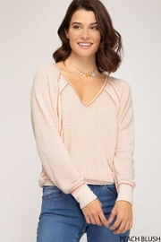 She + Sky Thermal V-Neck Top - Front cropped