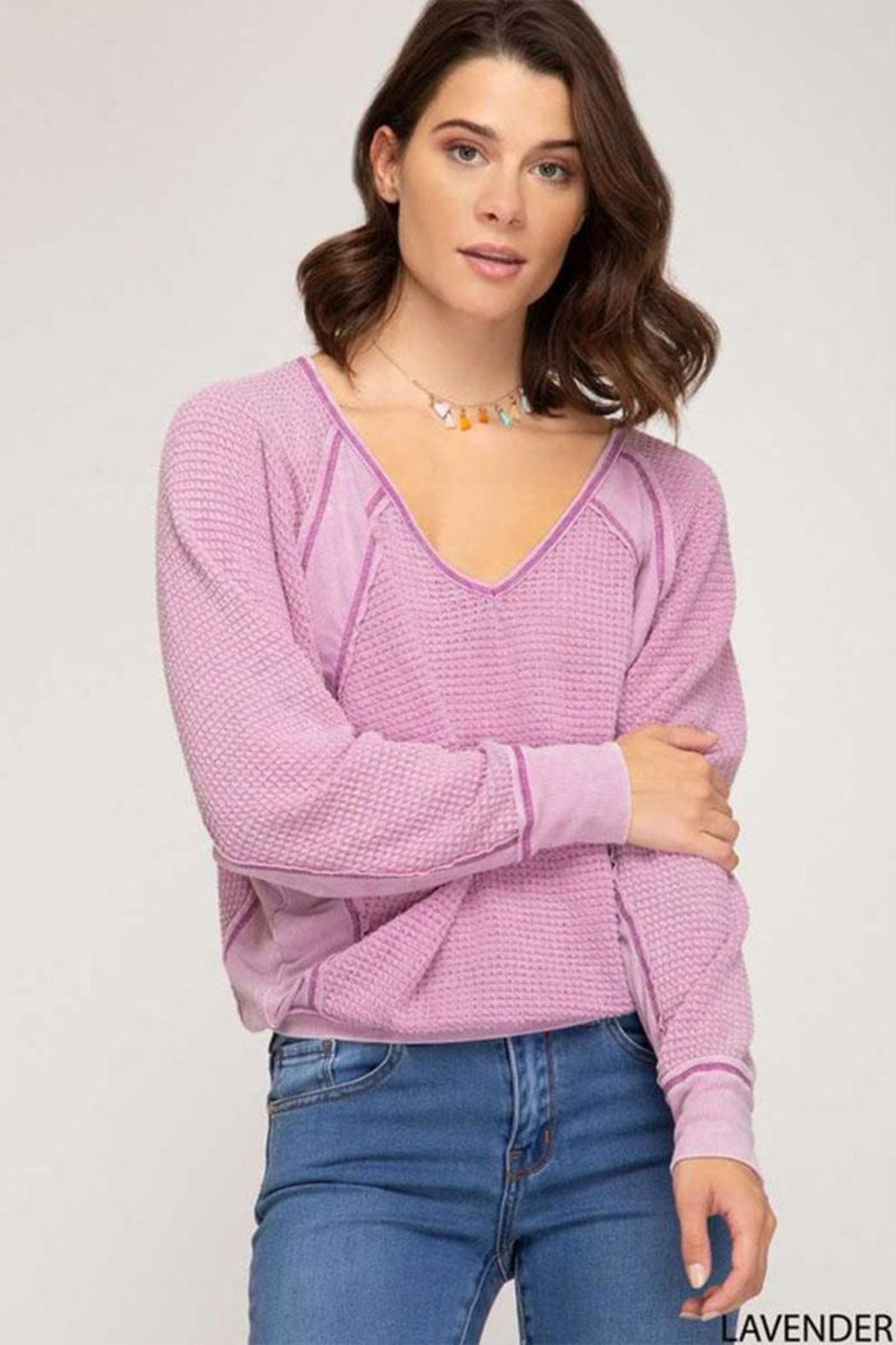 She + Sky Thermal V-Neck Top - Front Cropped Image