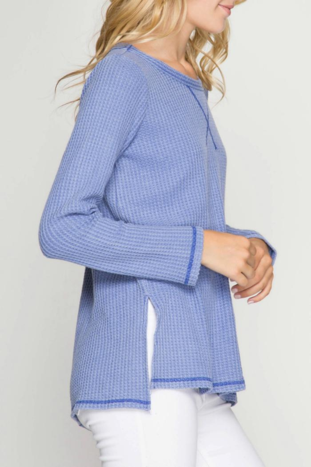 She + Sky Thermal Waffle Top - Front Full Image