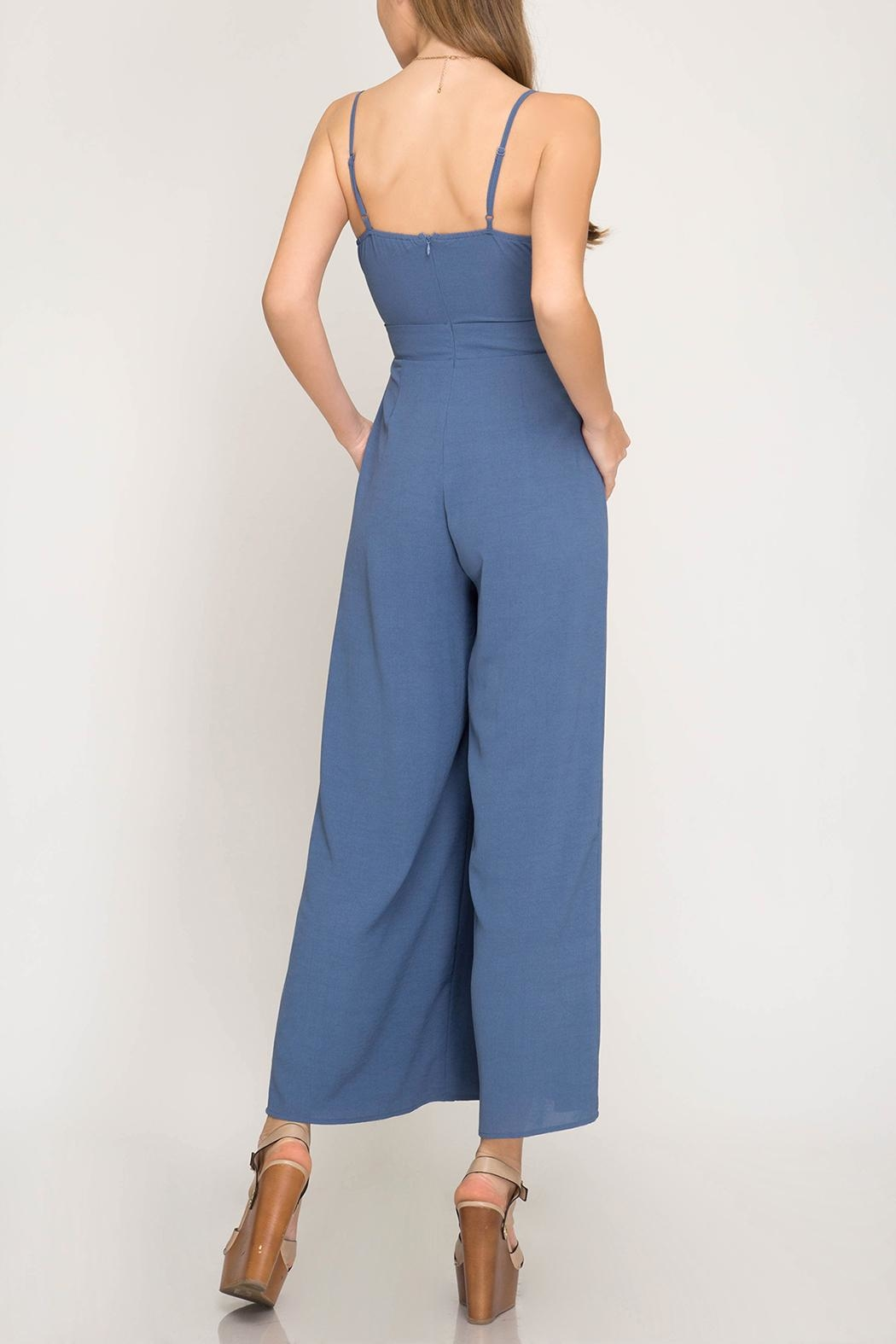 She + Sky Tie Detail Jumpsuit - Front Full Image