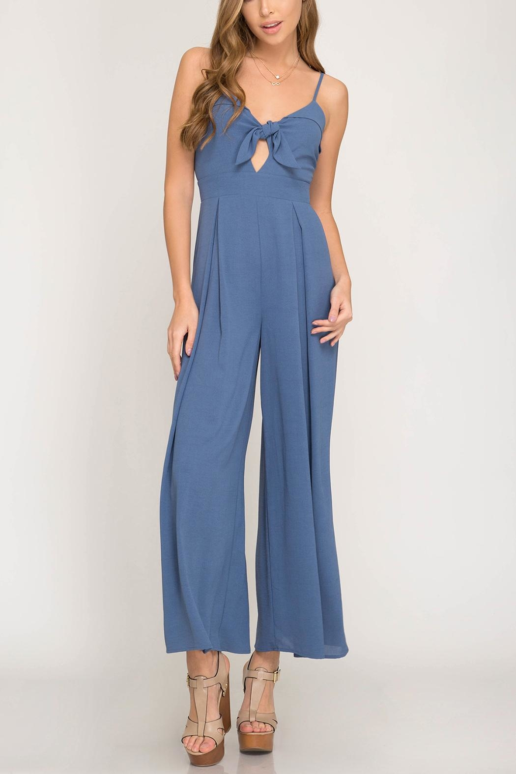 She + Sky Tie Detail Jumpsuit - Front Cropped Image