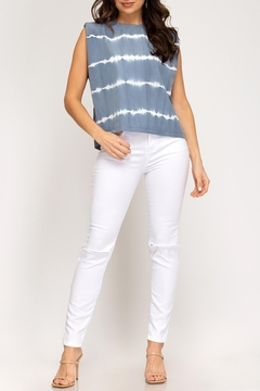 She + Sky Tie Dye Strong Shoulder Top - Product List Image