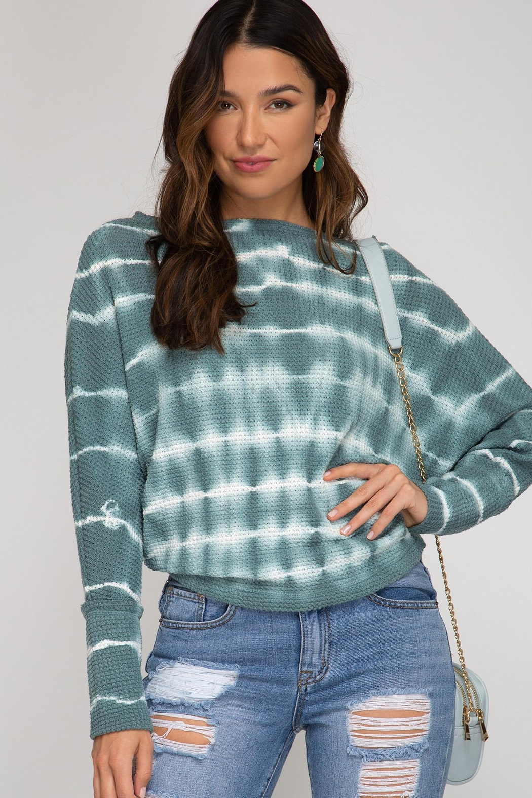 She + Sky Tie Dye Top - Front Cropped Image
