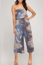 She + Sky Tie-Dye Tube Jumpsuit - Front cropped