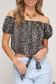 She + Sky Tie Front Crop-Top - Other