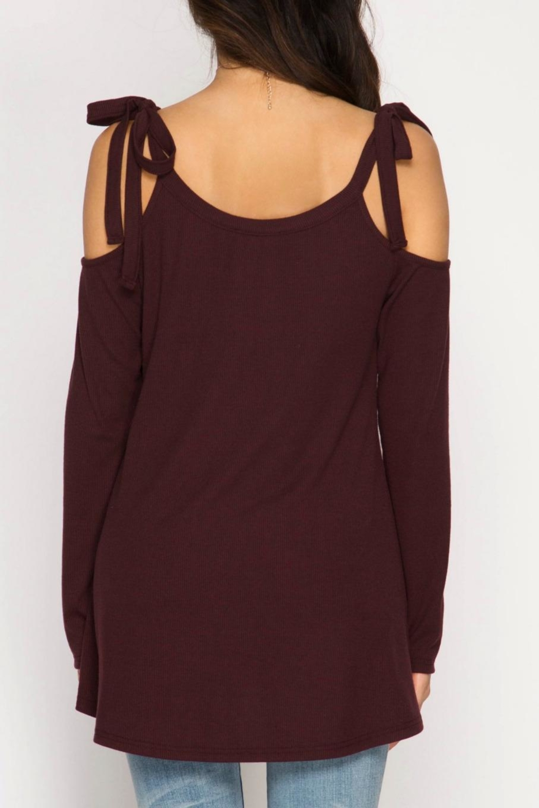 She + Sky Tie Shoulder Tunic - Side Cropped Image