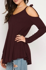 She + Sky Tie Shoulder Tunic - Front full body